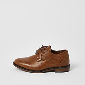 Mini - Bruine schoenen met veters en puntneus voor jongens