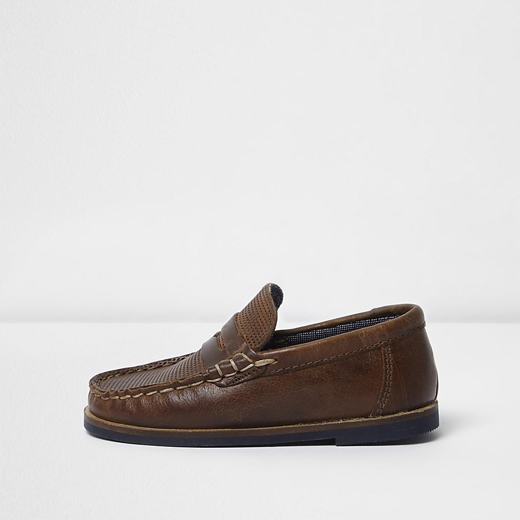 Bruine leren loafers voor mini boys