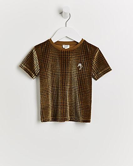 Mini boys brown Maison Rivera velour t-shirt