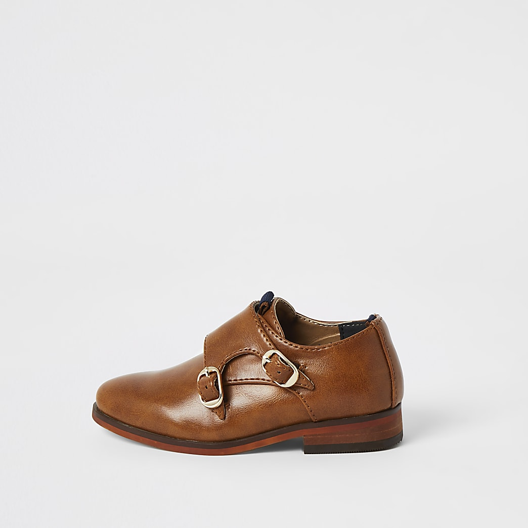 Mini boys brown monk strap shoes