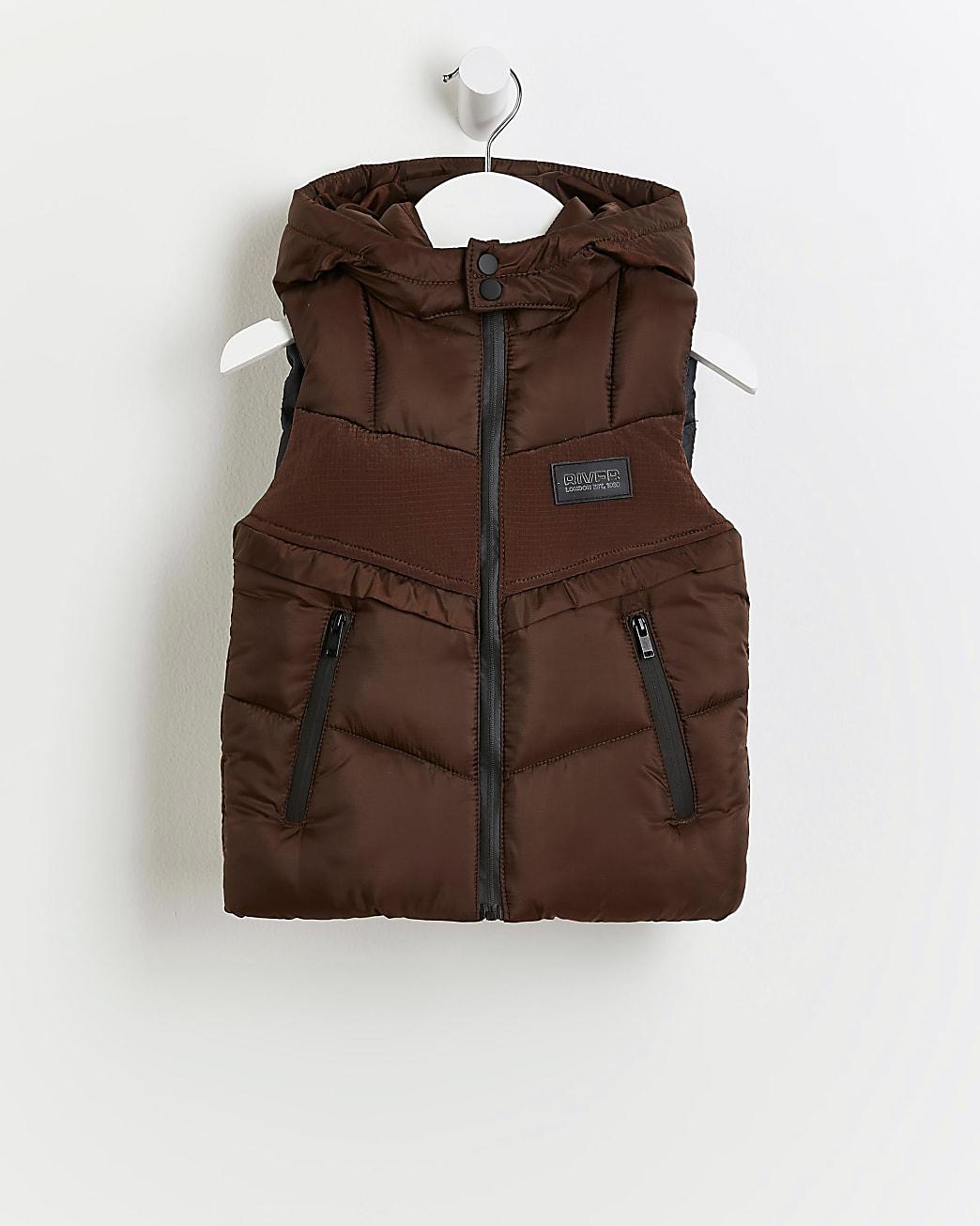 Mini boys brown padded hood gilet