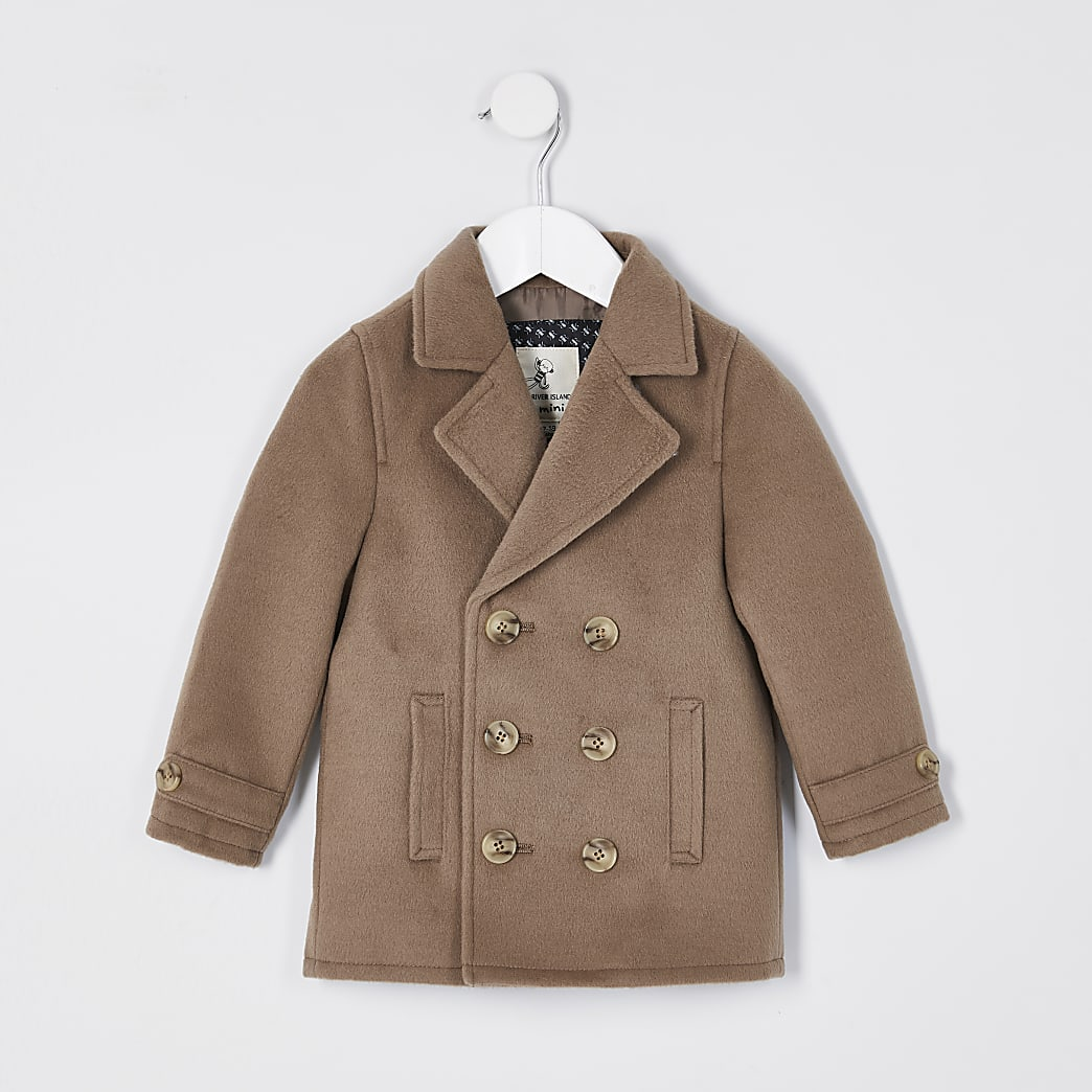 Mini boys brown peacoat