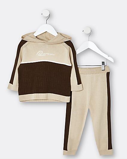 Mini boys brown RI hoodie and joggers set