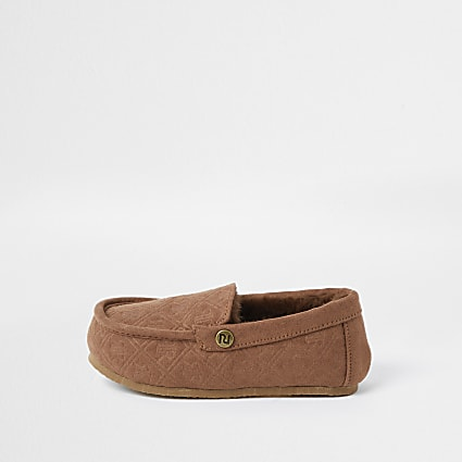 Mini boys brown RI monogram moccasin slippers