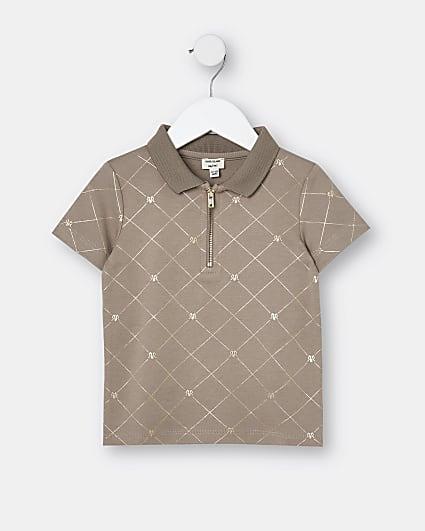 Mini boys brown RI monogram polo shirt