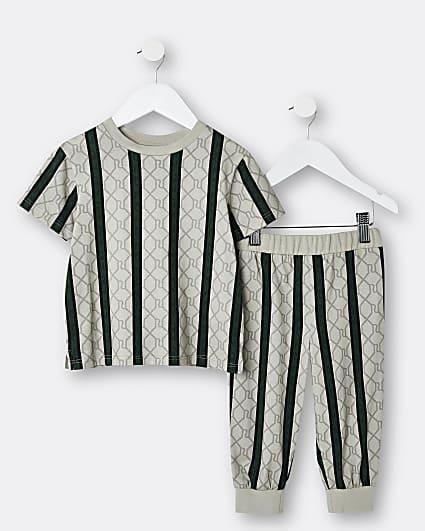 Mini boys brown RI stripe pyjama set