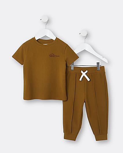 Mini boys brown RI t-shirt and joggers outfit