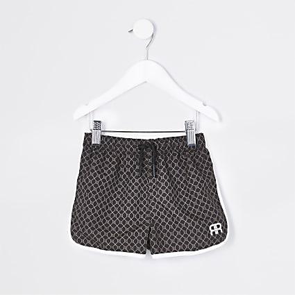 Mini boys brown RR monogram shorts
