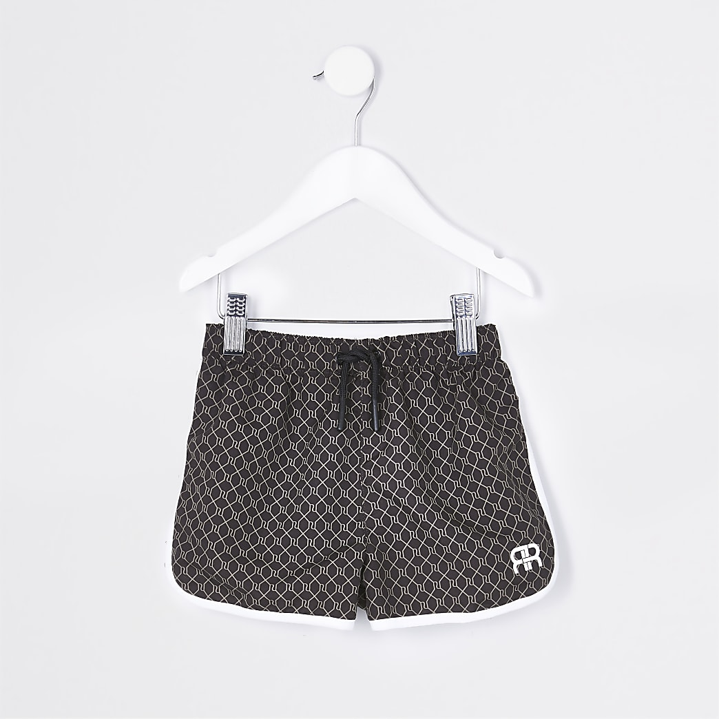 Mini boys brown RR monogram shorts