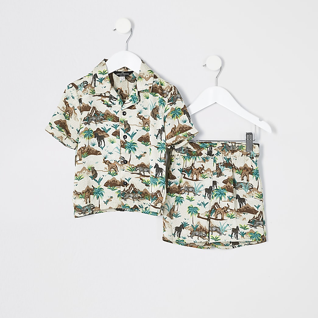 Mini boys brown 'Safari' satin pyjamas