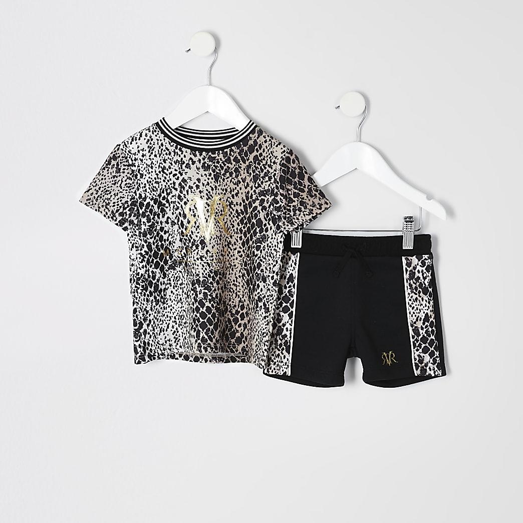 Mini - Outfit met bruin T-shirt met slangenprint voor jongens