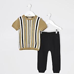 Mini - Bruine gestreepte gebreide top outfit voor jongens
