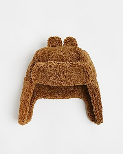 Mini boys brown teddy borg trapper hat