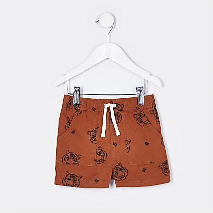 Mini boys brown tiger print shorts