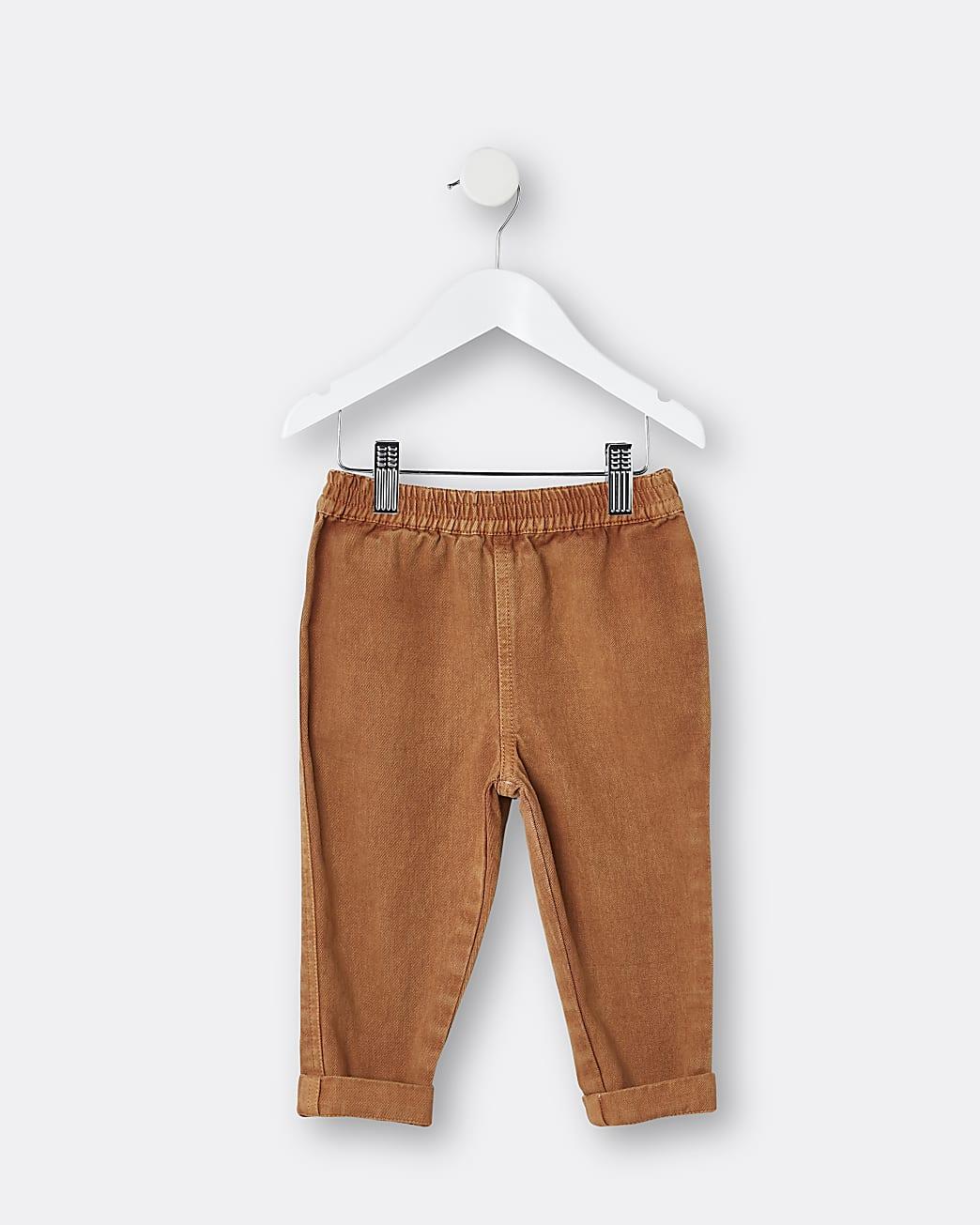 Mini boys brown turn up chino trousers
