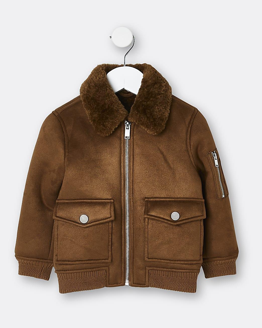 Mini boys brown utility borg jacket