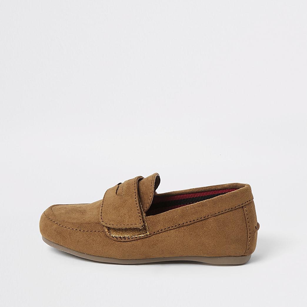 Mini boys brown velcro strap loafers
