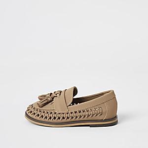 Mini - Bruine geweven loafers met kwastje voor jongens