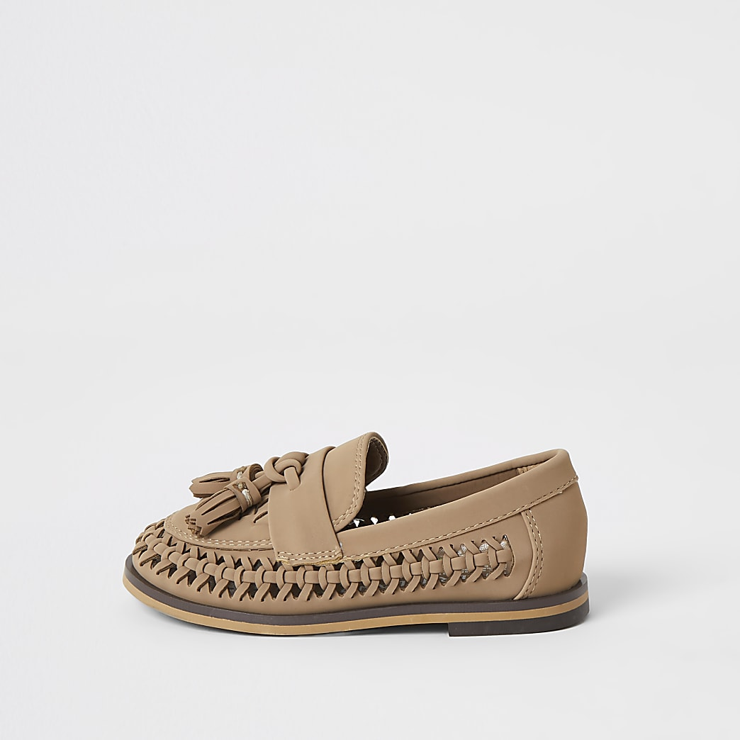 Mini boys brown woven tassel loafers