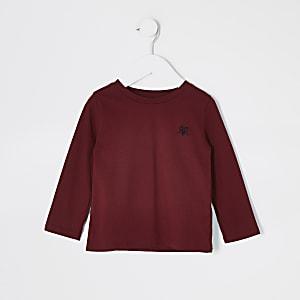 Mini - Bordeauxrood T-shirt met lange mouwen en RVR-letters voor jongens