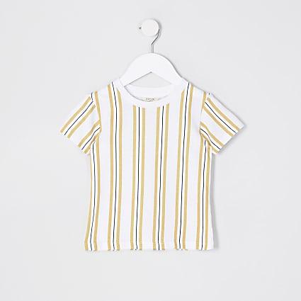 Mini Boys camel pinstripe T-Shirt