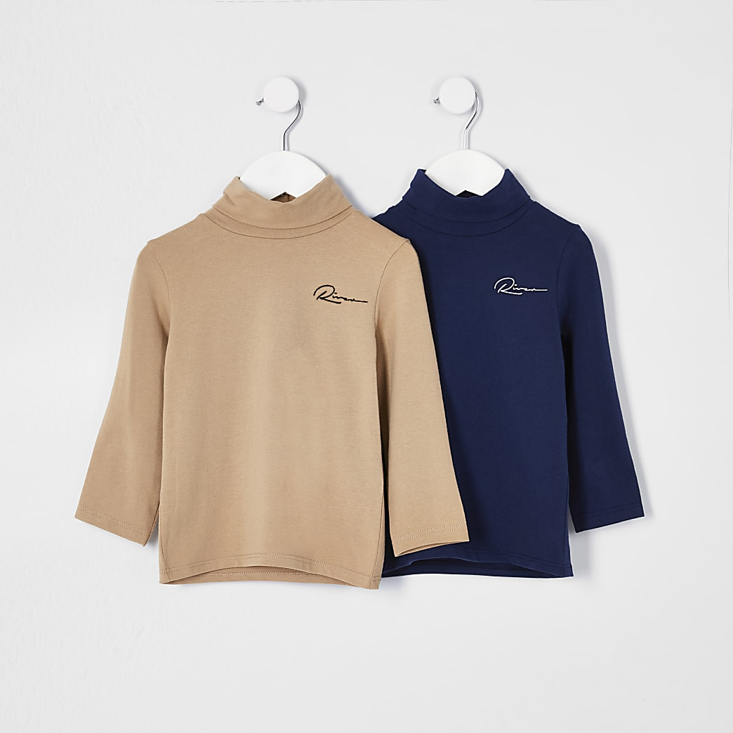 Mini boys camel roll neck top 2 pack