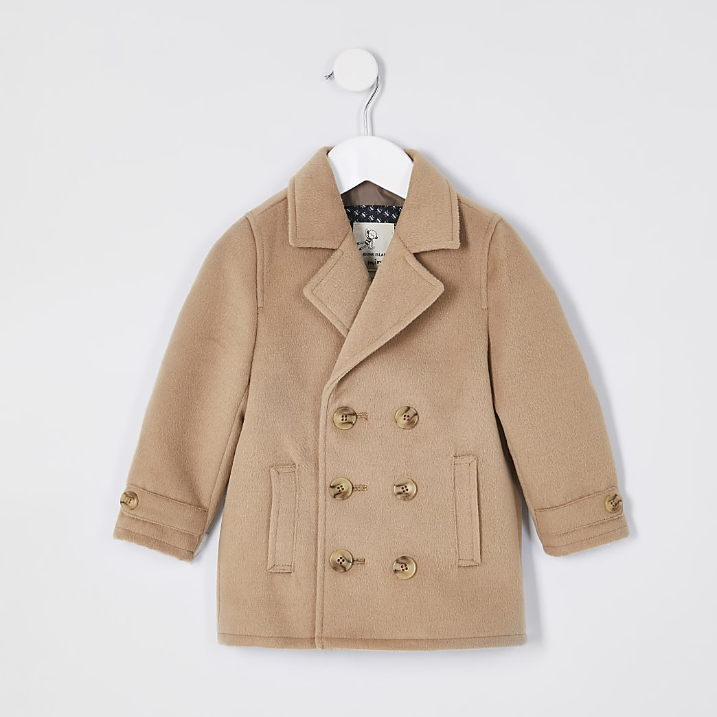 Mini boys camel wool peacoat
