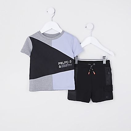 Mini boys colour block t-shirt and shorts set
