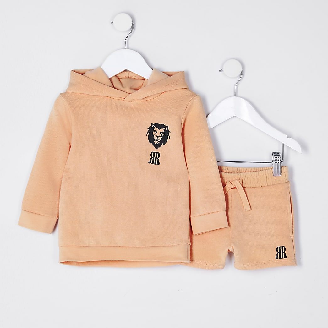 Mini boys coral lion hoodie outfit