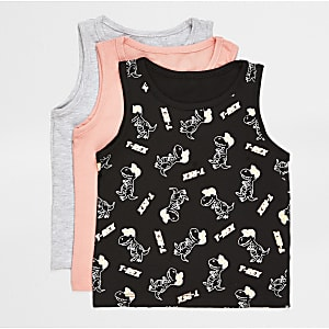 Mini boys coral printed vests 3 pack