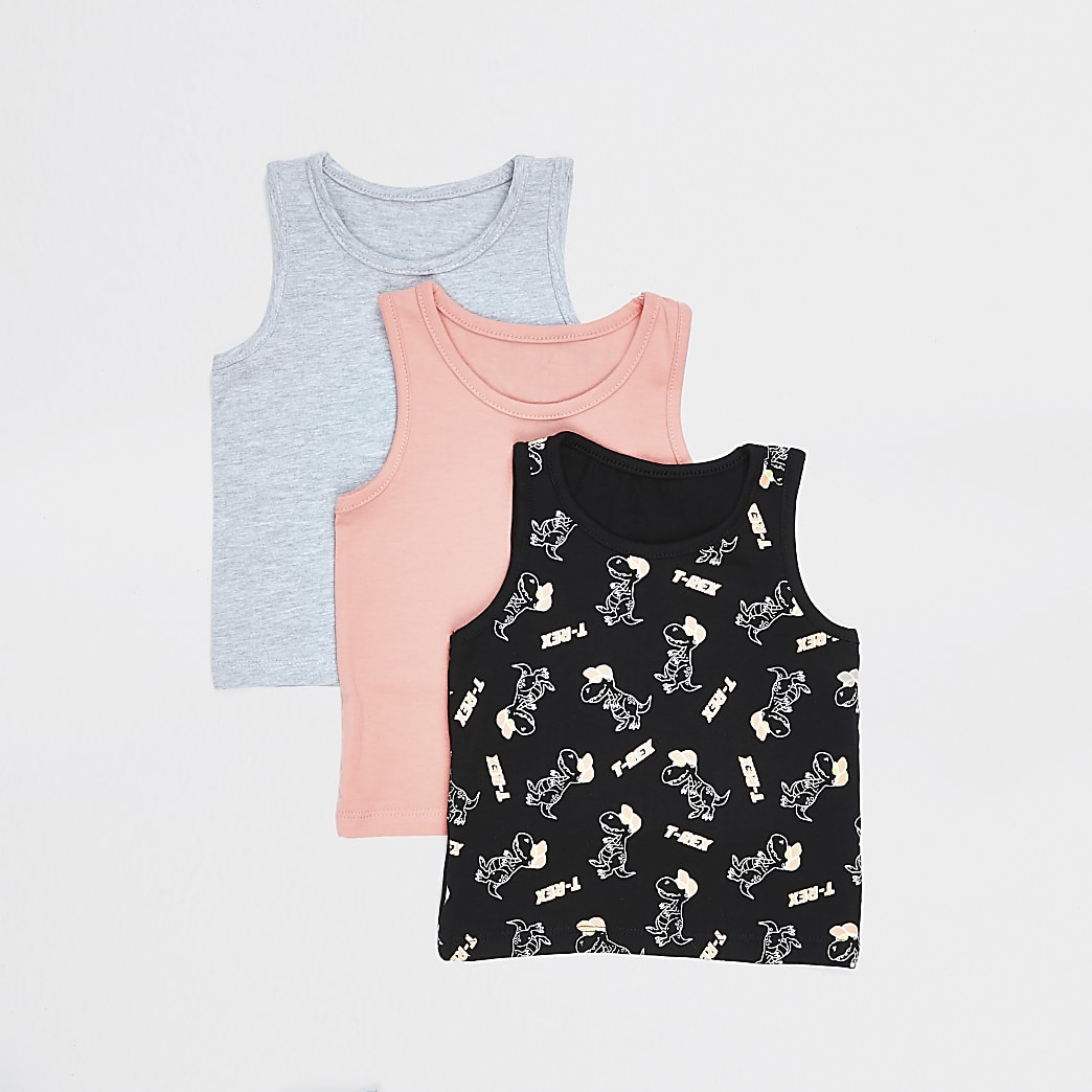 Mini boys coral T-rex print 3 pack vest