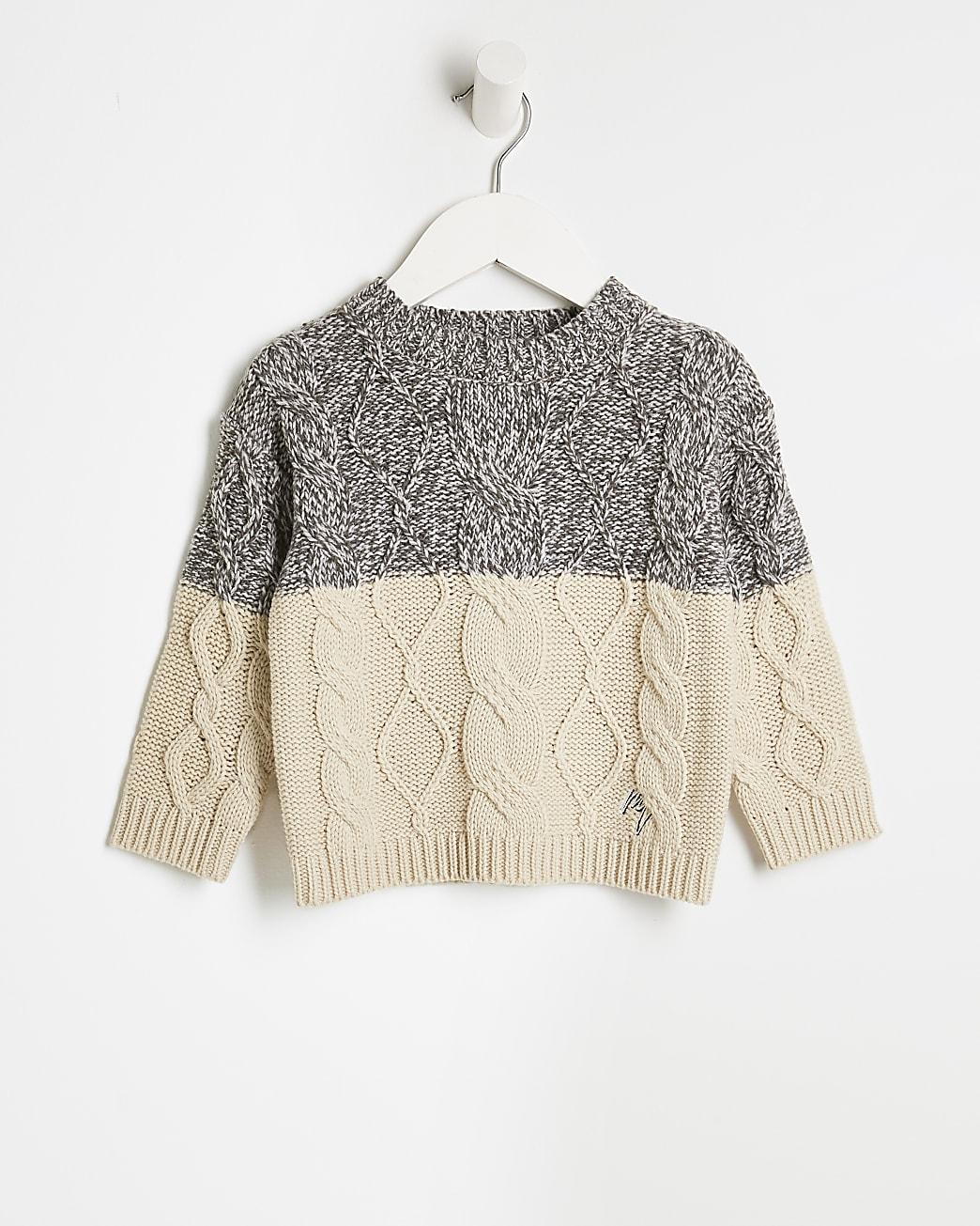 Mini boys cream cable knit  jumper