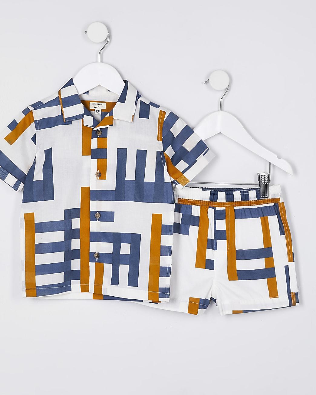 Mini boys cream geometric shirt outfit