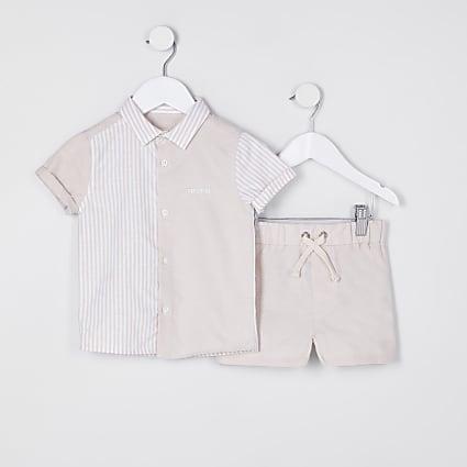 Mini boys cream stripe polo shirt outfit