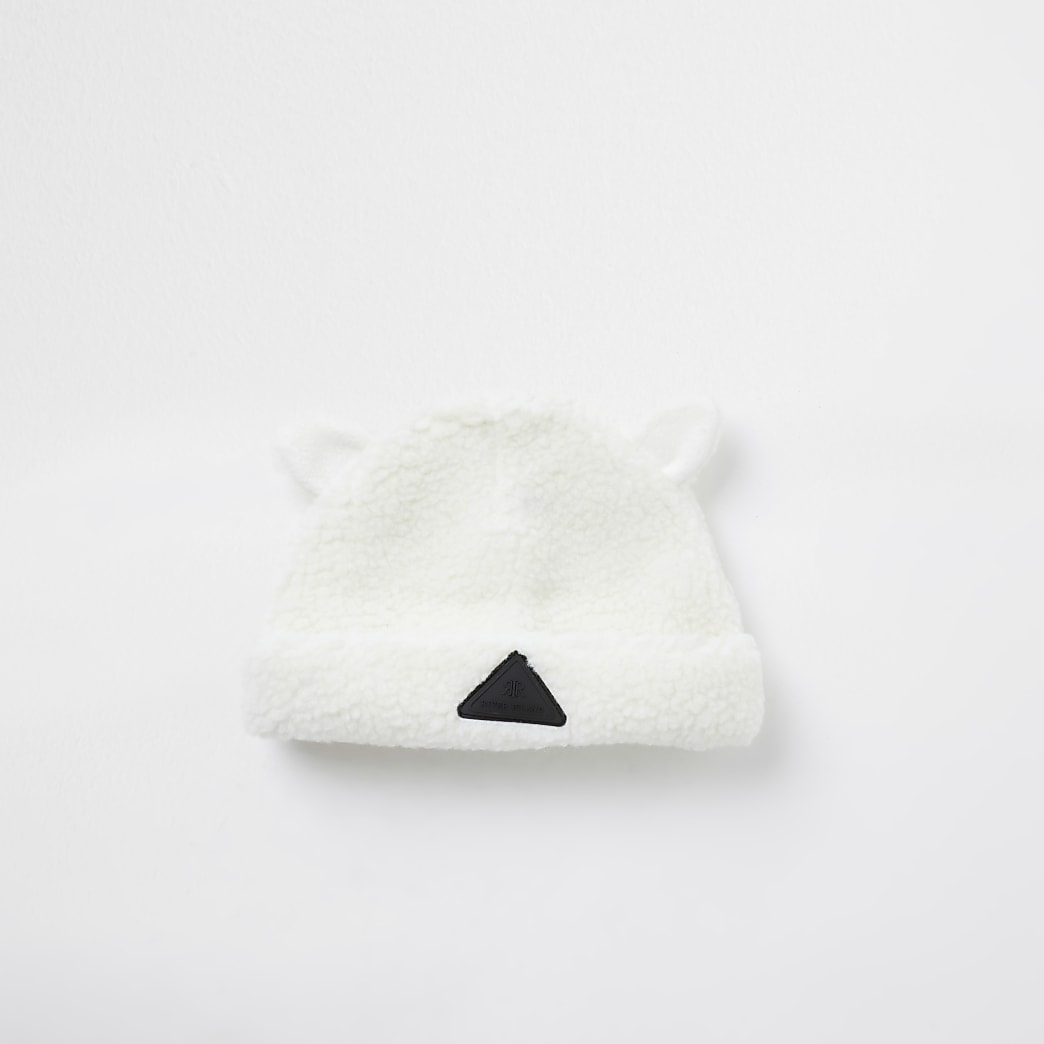Mini boys cream teddy borg beanie hat