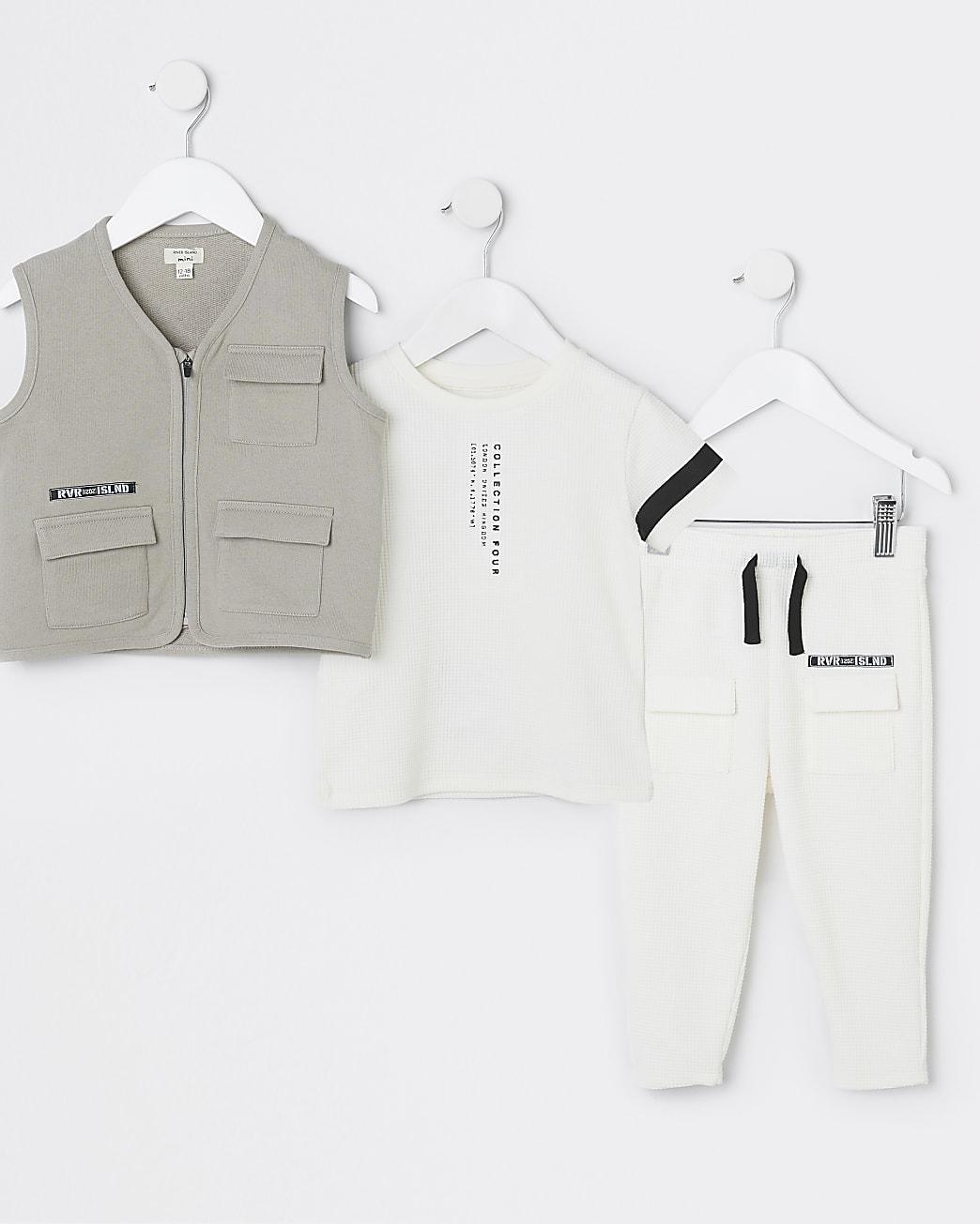 Mini boys cream utility gilet 3 piece outfit