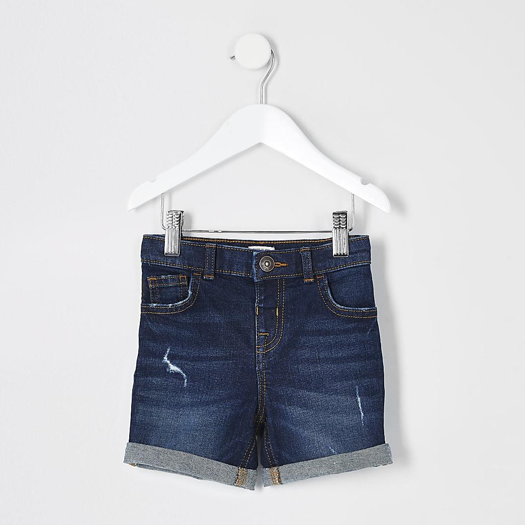 Mini boys dark blue Dylan slim fit shorts