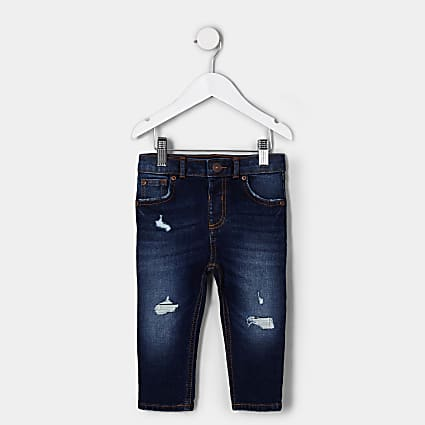 Mini boys dark blue ripped skinny jean