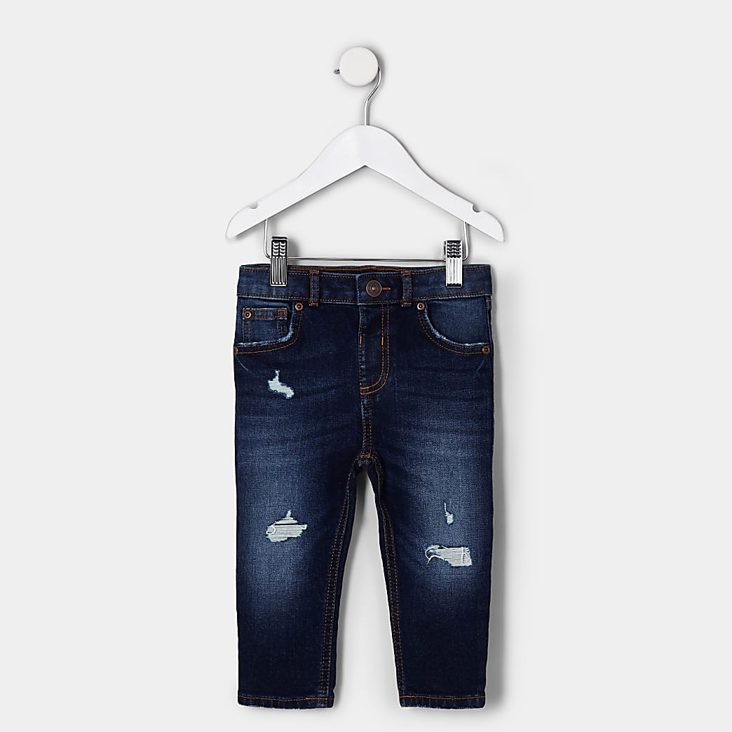 Mini boys dark blue ripped skinny jean