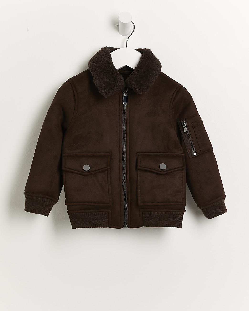 Mini boys dark brown borg utility jacket