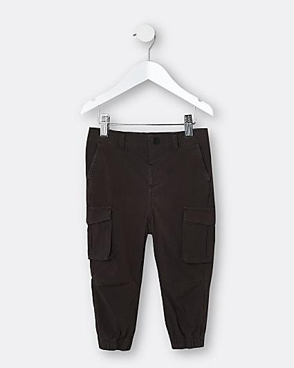 Mini boys dark brown washed cargo trousers