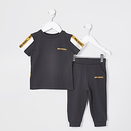 Mini boys dark grey taped t-shirt jogger set