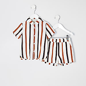Mini - Ecru gestreepte outfit met  overhemd voor jongens