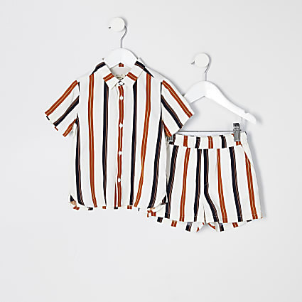 Mini boys ecru stripe shirt outfit