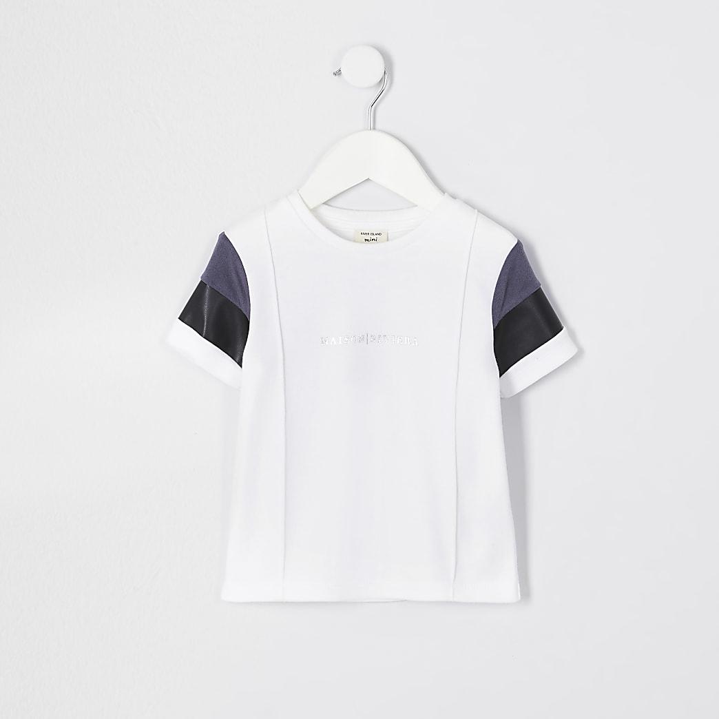 Mini boys ecru suedette block t-shirt