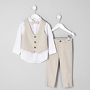 Mini - Ecru kostuumoutfit voor jongens