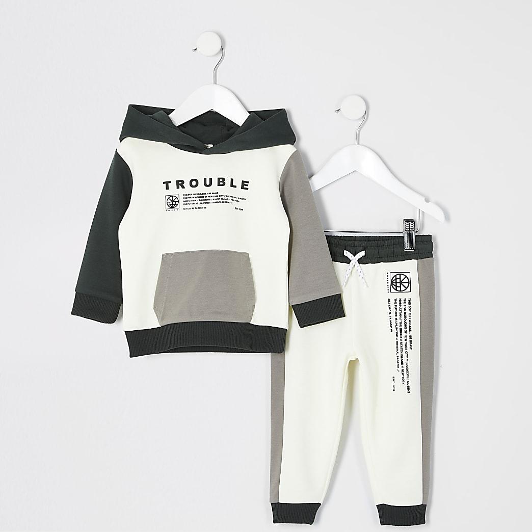 Mini boys ecru 'Trouble' hoodie outfit
