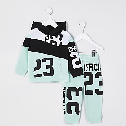 Mini boy's green 23 print tracksuit
