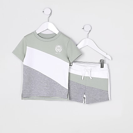 Mini boys green block t-shirt outfit