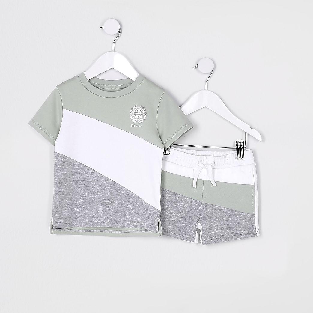 Mini boys green block t-shirt outfit